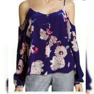 NWT Yumi Kim 100% Silk Cold Shoulder Blouse sz L